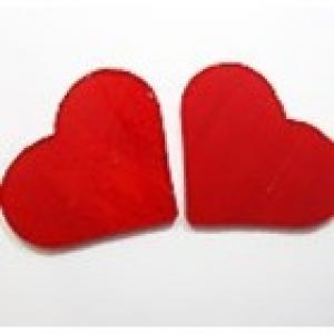 Baoli glas COE 90 precut shapes: hartvorm opaal rood 5 cm, 1 stuks