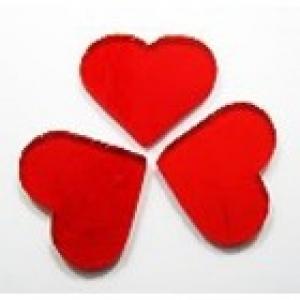 Baoli glas COE 90 precut shapes: hartvorm opaal rood 3 cm, 1 stuks